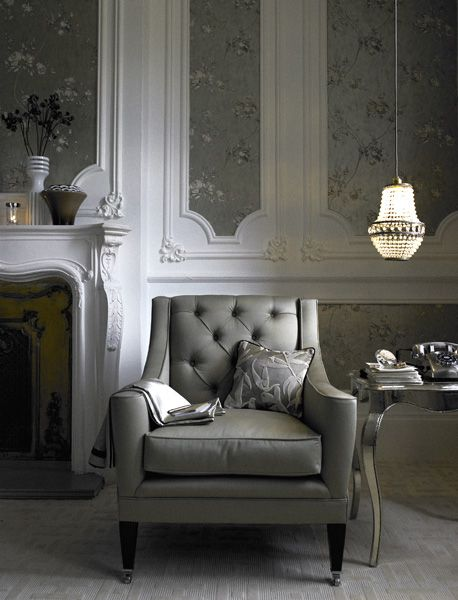 just gray: Grey Interiors, Wood Trim, Grey Rooms, Living Rooms, Fireplaces, Gray Rooms, Interiors Design, Upholstered Chairs, Home Decor