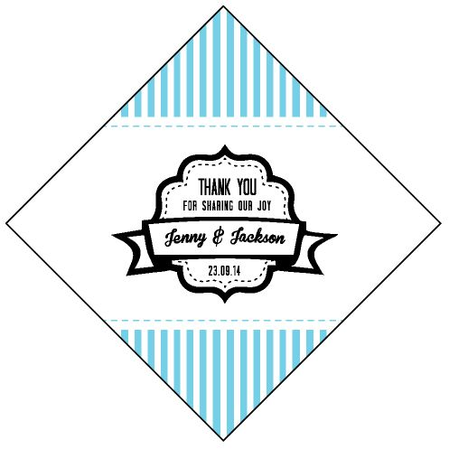Vertical Stripe Diamond Wedding Personalized Tag / Sticker!!  #Verticalstripetag #Weddingtags #Wedding #Blueweddingtheme