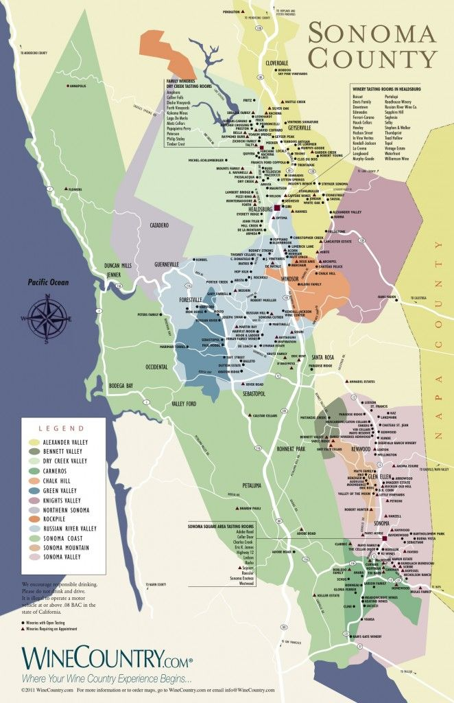 Sonoma County Winery Map 662x1024 Jpg 662 215 1 024 Pixels