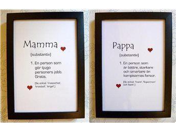 Typografi SET Väggord MAMMA + PAPPA!, föräldrar kärlek