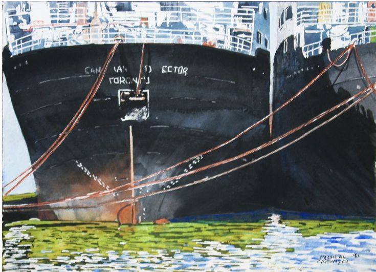 """lake freighters port of toronto 10"""" x 12"""" micheal zarowsky  watercolour on arches paper"""
