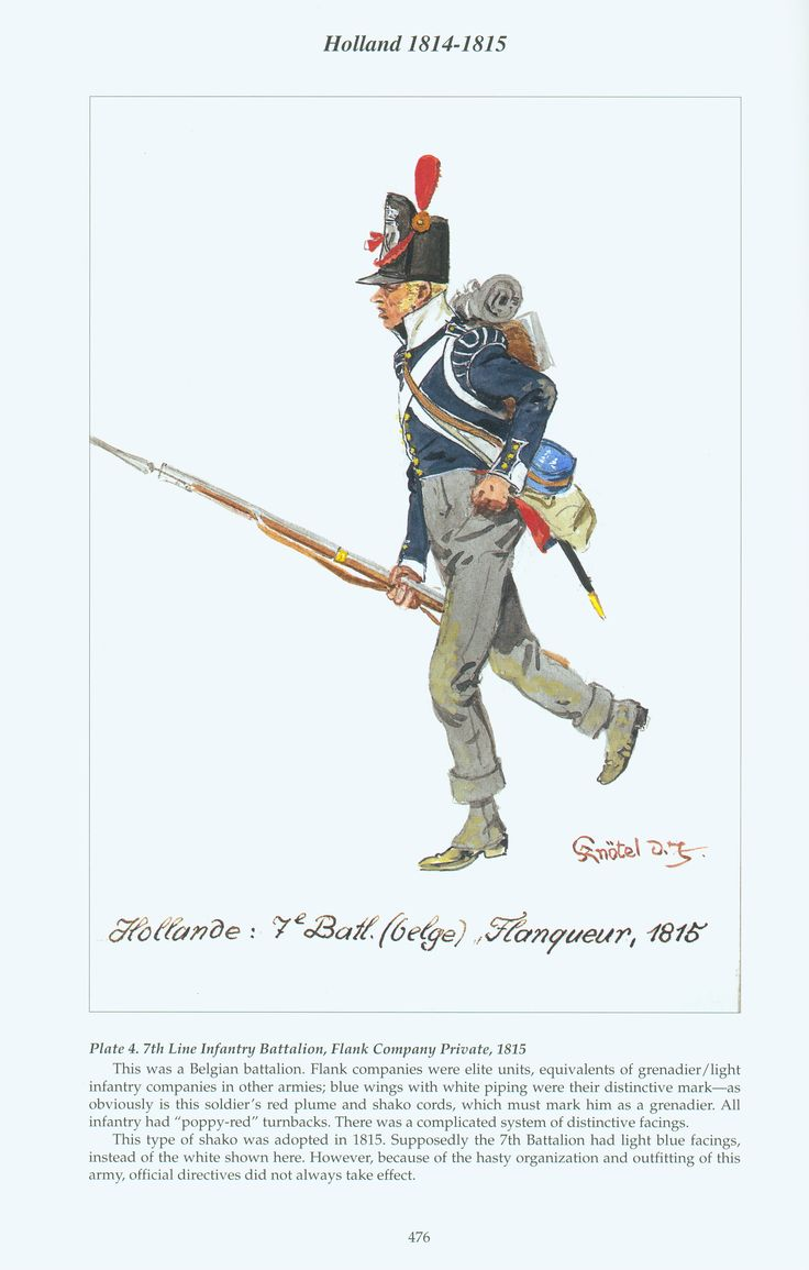 Holland: Plate 4. 7th Line Infantry Battalion, Flank Company Private, 1815
