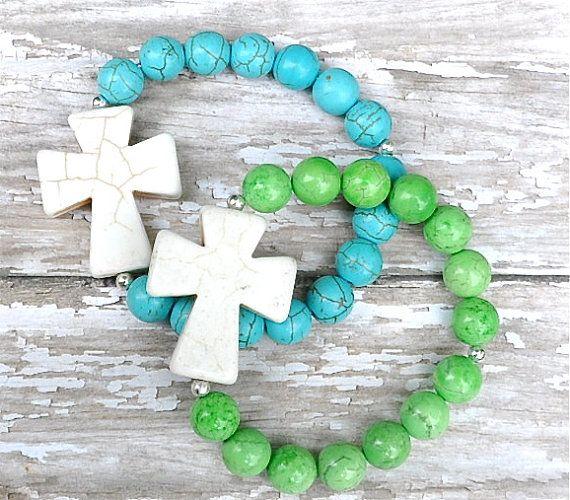 NEW Big Cross Beaded Bracelet / Handmade Beaded Bracelets via Etsy
