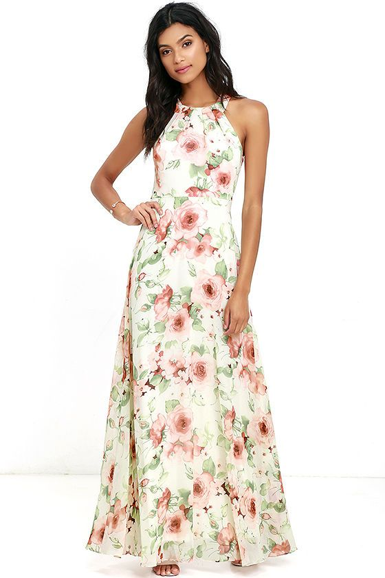467885325a Heaven Scent Ivory Floral Print Maxi Dress in 2019