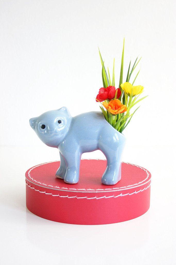 Vintage 1940s Morton Pottery Cat Planter / Periwinkle Blue Ceramic Cat Vase