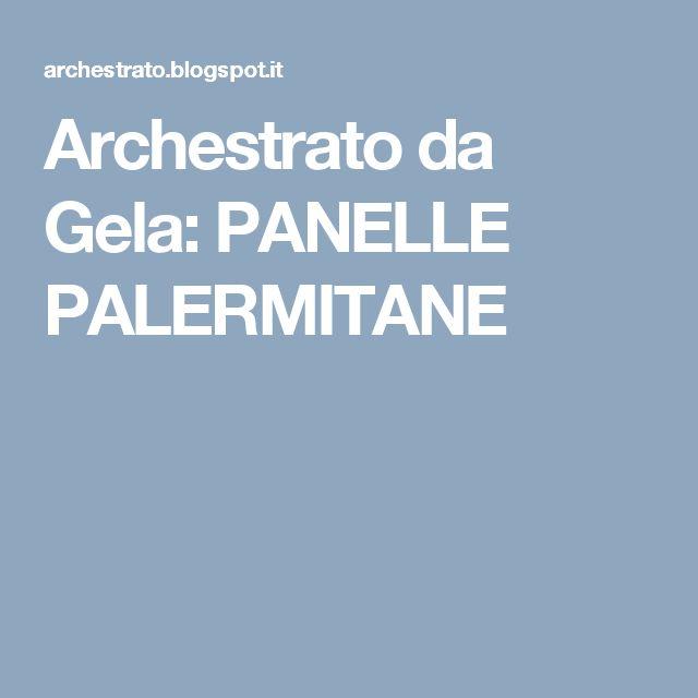 Archestrato da Gela: PANELLE PALERMITANE