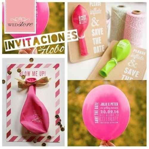 invitaciones estampadas con globo...