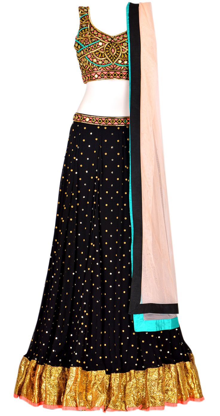 Black georgette lehenga with gota border and black mirrorwork blouse