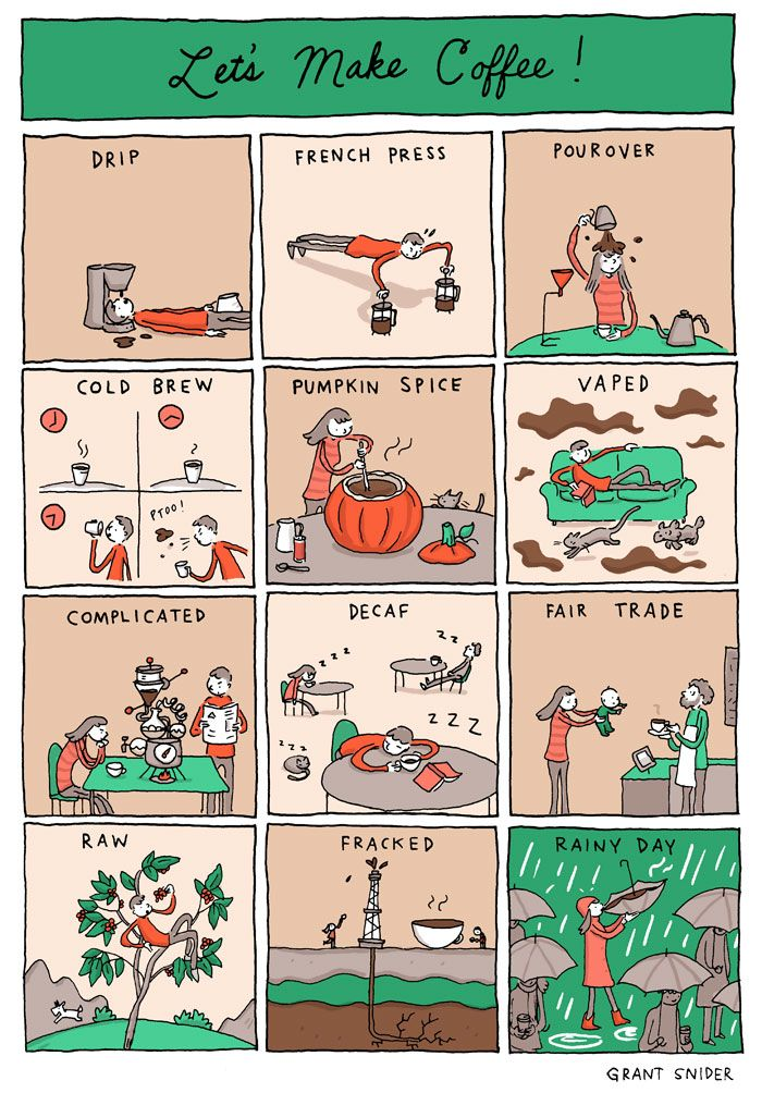 """Grant Snider explores creative approaches to making coffee in """"Let's Make Coffee!"""" on Incidental Comics."""