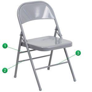 Flash Furniture Hercules Series Triple Braced & Quad Hinged Gray Metal Folding Chair HF3-MC-309AS-GY-GG