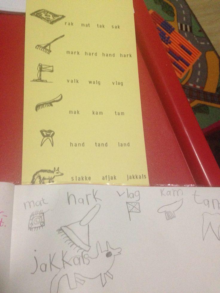 Teken prentjies en skryf 4 woorde langs elke prentjie neer.  Kind moet regte woord kies en skryf.