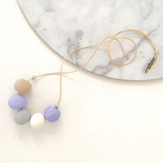 Polymer clay beaded necklace lilac marble by FinchcreationsStore