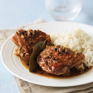 Inspired by the Philippine national dish, this Easy Chicken Adobo uses a simple blend of garlic, vinegar, and soy sauce to give chicken a zingy boost. Traditional adobo sauces are commonly enriched with coconut milk, and the dish is frequently made with pork. But for everyday cooking, we like this lighter, simpler version. Serve with rice.