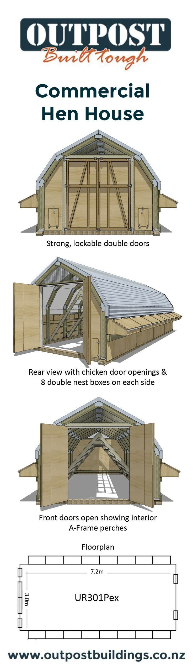 Large Chicken Coop suitable for up to 180 free ranging hens! #freerangechickens