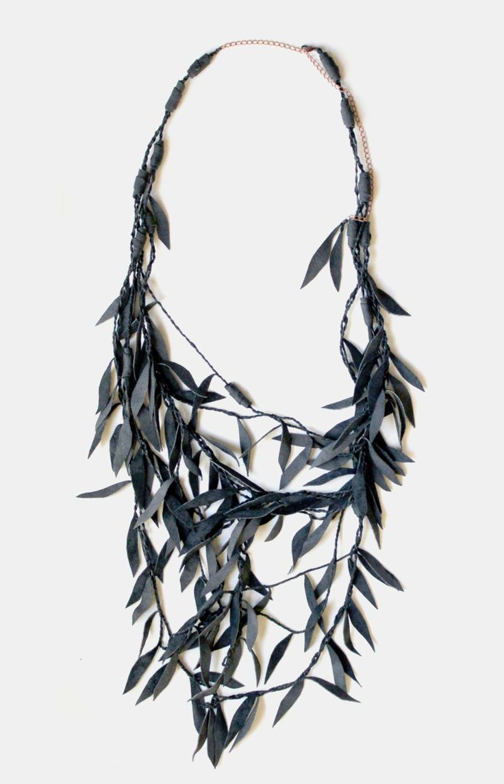 Willow Branch Necklace / UPCYCLED LEATHER / grey. $49.00, via Etsy.