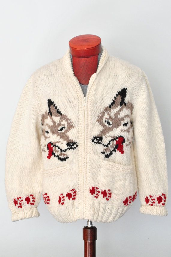 Mary Maxim Sweater Wolf Cardigan, Cowichan Sweater, Curling Sweater on Etsy, $139.00