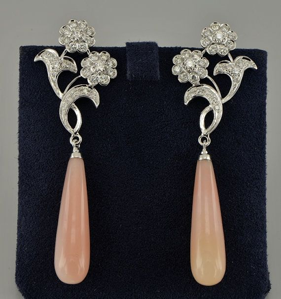 Art Nouveau inspired double flower top elongated drop earrings set with diamonds and pink opal #opalsaustralia