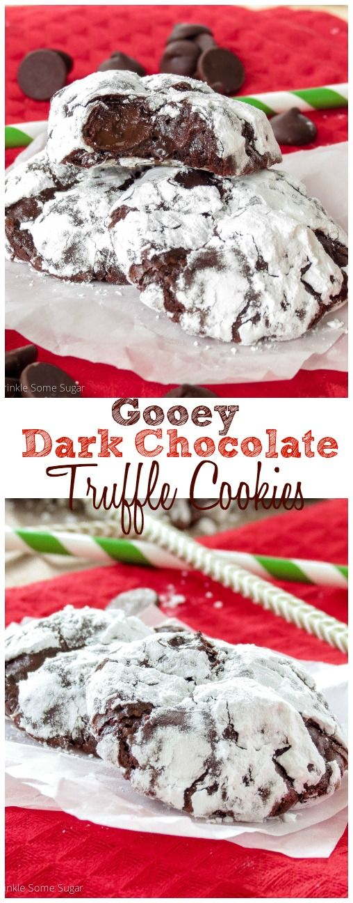 Gooey Dark Chocolate Truffle Cookies. The gooiest, meltiest, chewiest chocolate cookies that have ever existed!