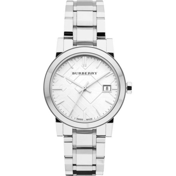 Burberry BU9100 stainless steel watch ($395) ❤ liked on Polyvore featuring men's fashion, men's jewelry, men's watches, burberry mens watches, men's blue dial watches and mens stainless steel watches