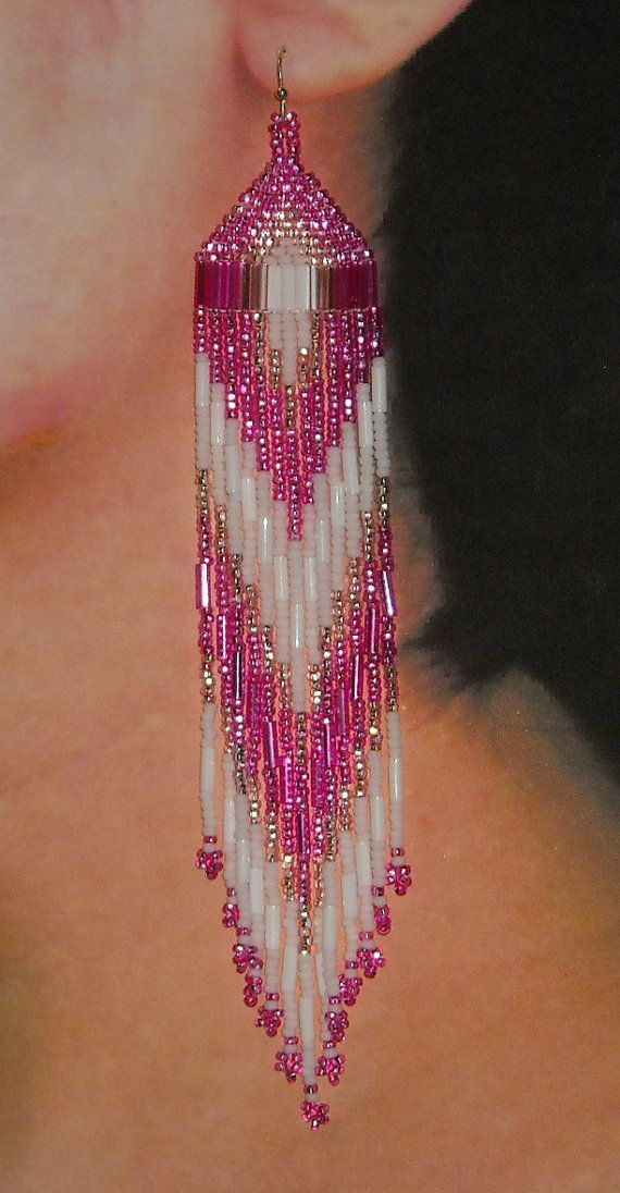 Native American Beaded Earrings Hot Pink White by BlueTurtleSky