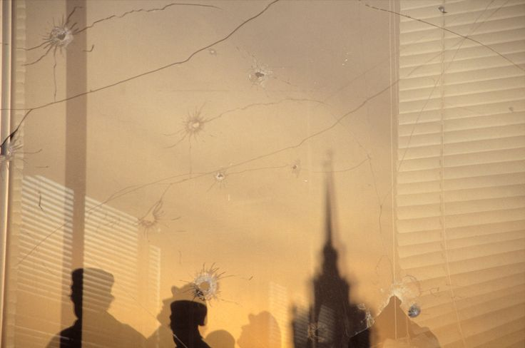 Gueorgui Pinkhassov Moscow. 5 October 1993. Bullet-shattered windows at the Parliament building.