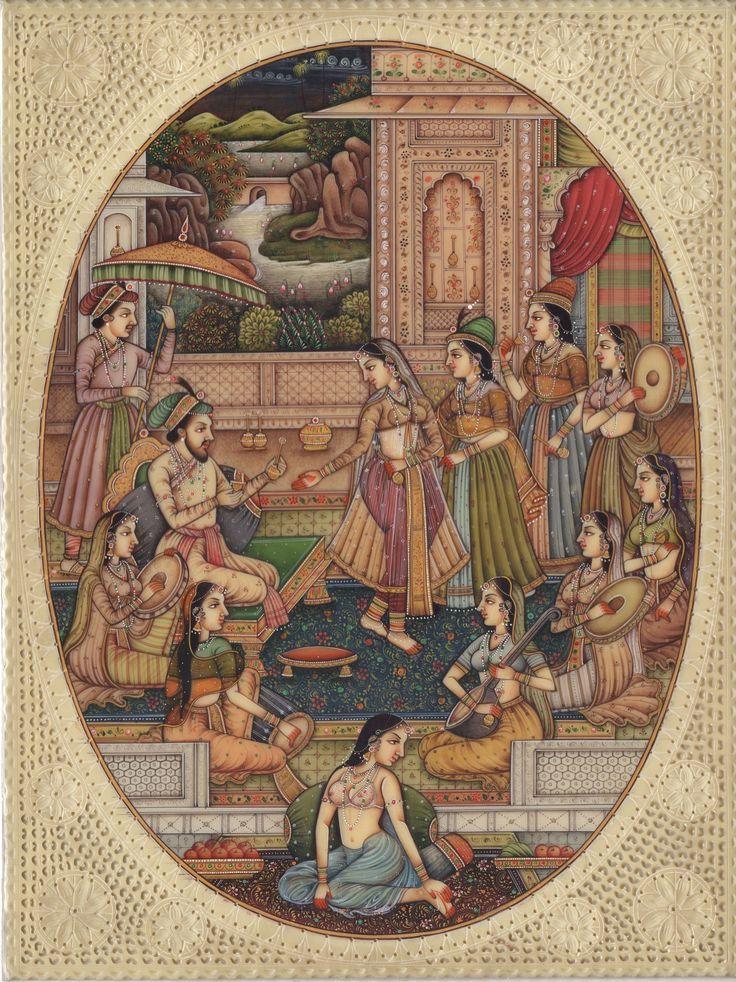 Mughal Miniature Painting Handmade India Moghul Empire Harem Home Decor Folk Art