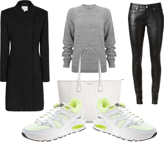 Nike Air Max: Style it. Sneaker/trainer outfit inspiration with faux-leather pants.