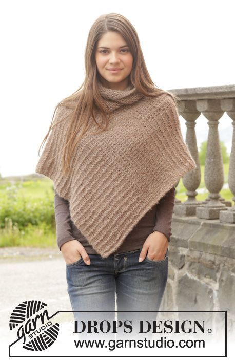 "Knitted DROPS poncho in garter st in 2 strands ""Brushed Alpaca Silk"". Size: S - XXXL. ~ DROPS Design"