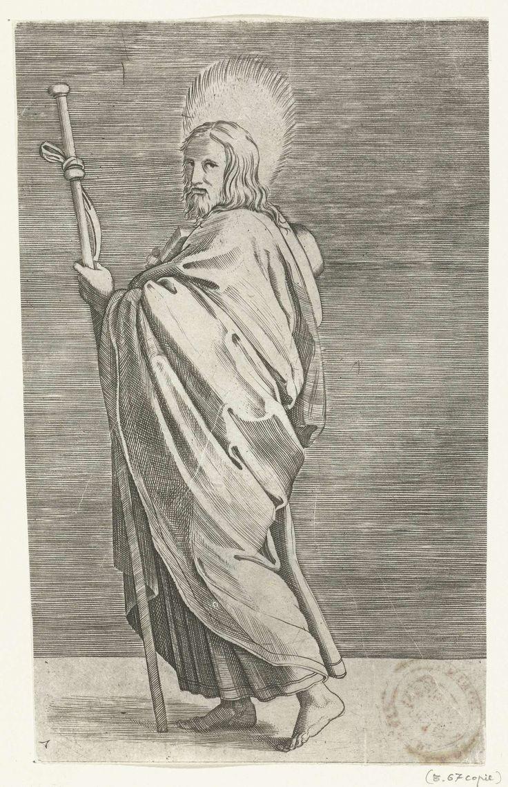 Marco Dente | Apostel Jakobus de Meerdere (Major) met pelgrimshoed en pelgrimsstaf, Marco Dente, Marcantonio Raimondi, Rafaël, 1517 - 1527 |