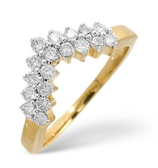 Diamond 0 45ct 9k Yellow Gold Wishbone Ring Thediamondstoreuk