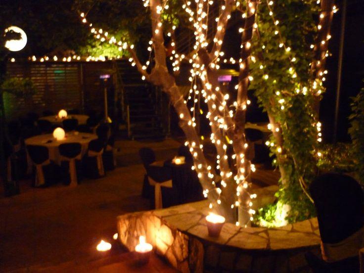 Luces de ambiente en los arboles de la terraza del club - Luces de terraza ...