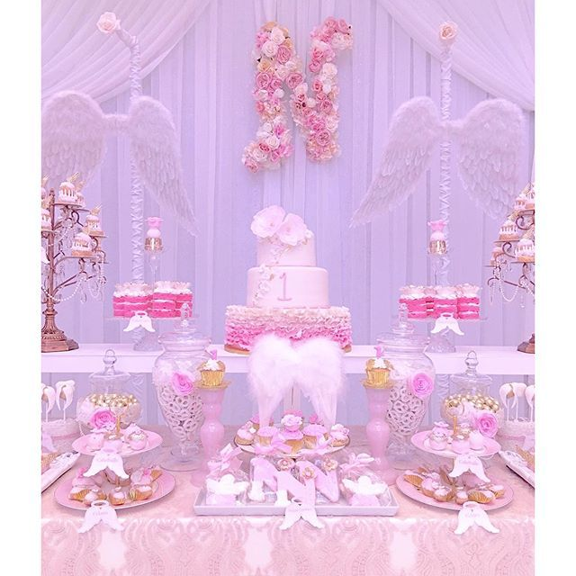 Christening/First Birthday | Angel theme party for sweet, little Nicole  | tap for credits | #sweet ...