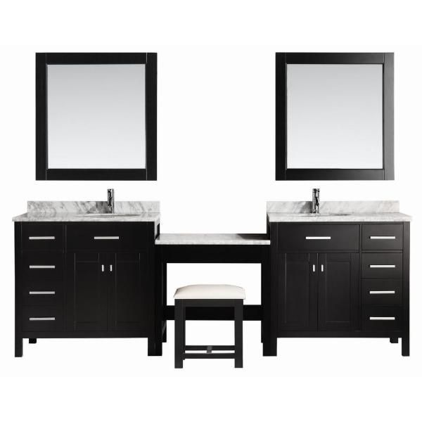 2 London 36 Espresso Transitional Single Sink Vanity Set Espresso