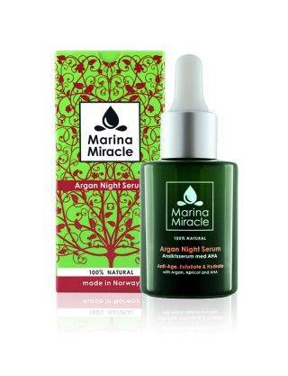 Marina Miracle Argan Night Serum er et naturlig nattserum med AHA fruktsyre som eksfolierer og strammer opp huden. Inneholder også den luksuriøse arganoljen fra Morocco som er full av antioksidanter og vitaminer som gir intens næring og ny glød til huden. Formulert HELT uten parabener, parfyme og andre kjemiske tilsetningsstoffer.