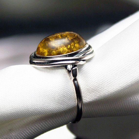 Silver Ring with Cushion Oval Amber by LaremelStudio on Etsy, $41.00