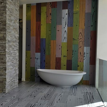 Crazy coloured timber look tiles. #signorinotilegallery