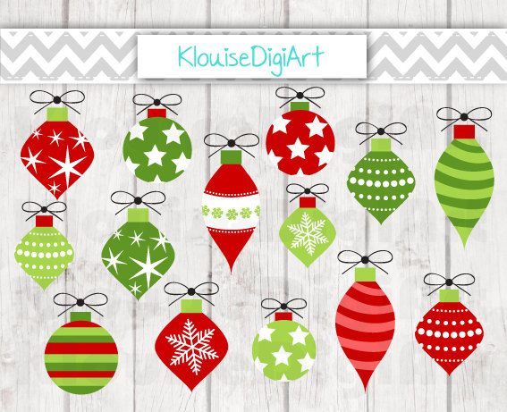 Christmas Bauble Decorations in Red and Green by KlouiseDigiArt