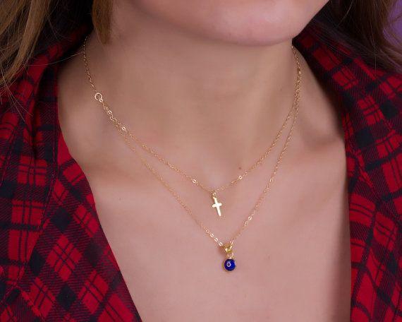 Double strand necklace Evil eye cross necklace layered