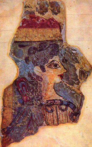 """Malowidło z Knossos: """"Paryżanka"""", 1400 BC"""