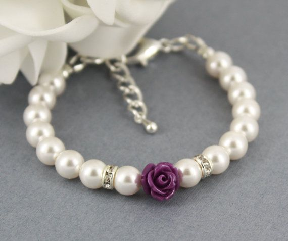Flower Girl Bracelet, White Pearl and Flower Bracelet, Swarovski Bracelet, Bridal Jewelry, Flower Girl Gifts, Dark Purple Flower Bracelet on Etsy, $13.73