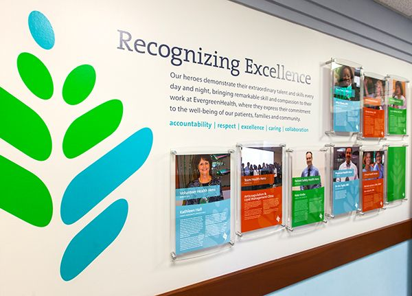 EVERGREENHEALTH EMPLOYEE RECOGNITION EXHIBIT WALL                                                                                                                                                     More