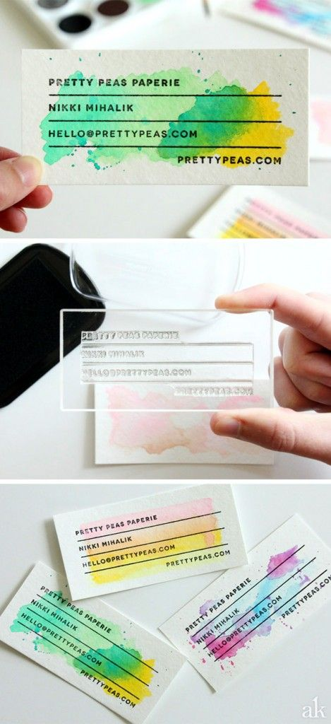 Stamped Watercolor DIY Business Cards