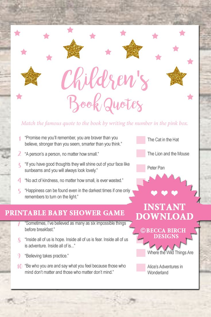 Childrenu0027s Book Trivia   Baby Shower Game   Pink And Gold Stars   Printable    Instant