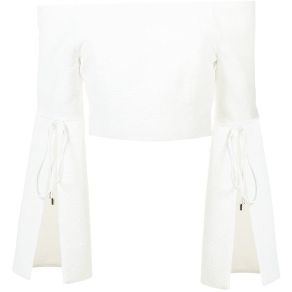 C/Meo off-the-shoulder top (4 210 UAH) ❤ liked on Polyvore featuring tops, white, white off the shoulder top, off the shoulder tops, white off shoulder top, off shoulder tops and white top