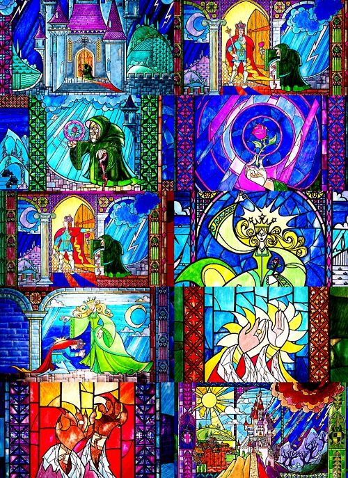 Beauty and the Beast stain glass <3