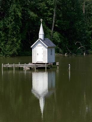 The world's smallest church? This structure resides on a tiny island in Oneida, New York.