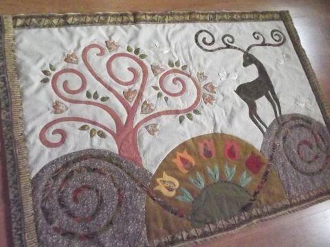 Falikép  szarvasokkal, tulipánokkal , Otthon, lakberendezés, Lakástextil, Falvédő, Meska