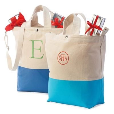 Great for travel or everyday use, the Personalized Color-Dipped Tote Bag is a fashionable way to carry shopping purchases, beach gear, books, or other essentials.