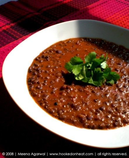 Recipe for Dal Makhani, taken from www.hookedonheat.com. Visit site for detailed recipe.