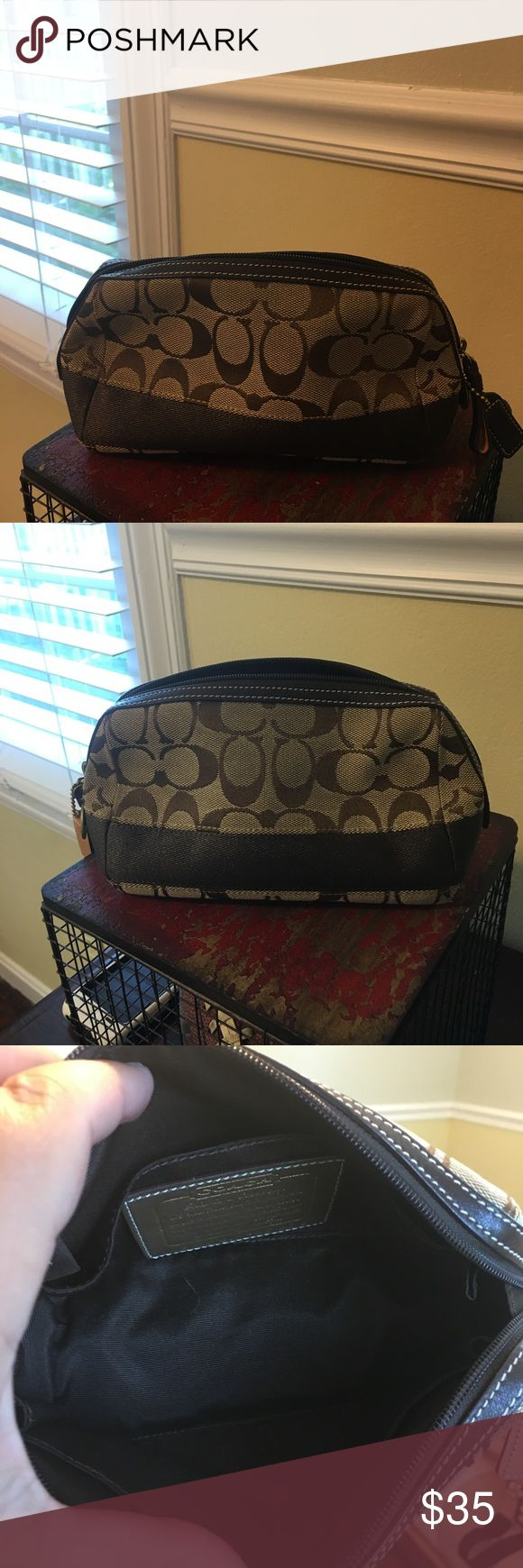 Coach Travel Bag Brown and Tan Coach accessory bag. Perfect for make up or any accessories!! Great travel bag. Coach Bags Travel Bags